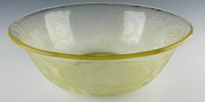 Indiana Glass Crystal HORSESHOE-YELLOW Large Fruit Bowl EXCELLENT