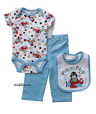 Baby boy's 3 piece set: trousers + bodysuit + bib 3-6 months soft cotton clothes