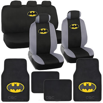 Officially Licensed Batman Full Set Seat Cover Floor Mat W. Car Accessory