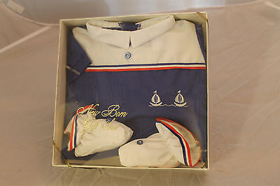 Vtg New Born Sailor Suit 3 Piece NIB Jayvee Grants Dept Store Doll Baby Set