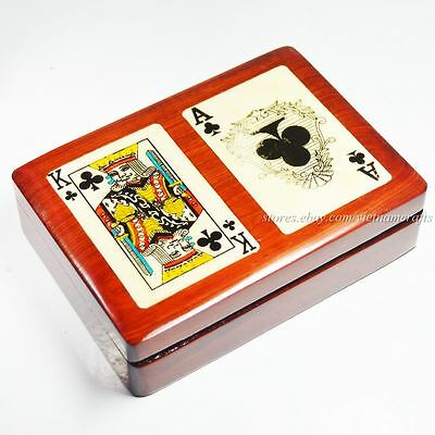 Ace & King of Clubs Double Deck Wooden Playing Card Box, Playing Card Holders