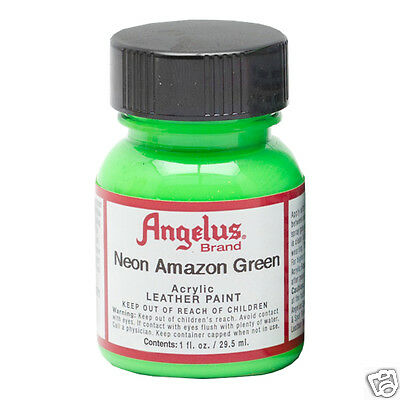 Green Fluro Paint Acrylic Super Bright For Leather & Synthetic & Crafts !!!!