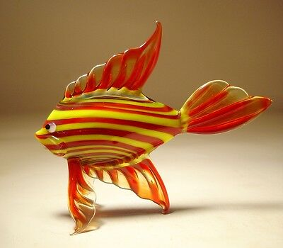 Blown Glass  Figurine Art Red and Yellow Striped Tropical FISH