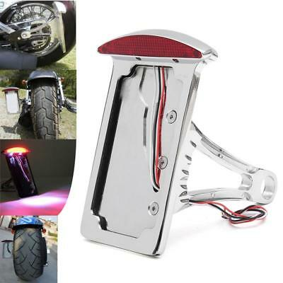 Side Mount License Plate Bracket LED Tail Brake Light for Harley Bobber Chopper