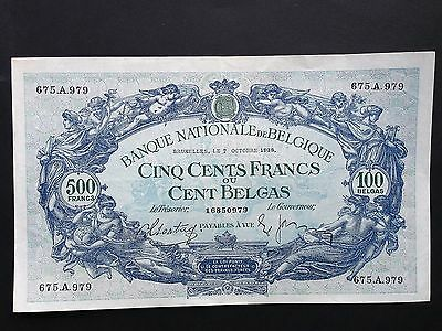 Belgium 500 Francs 100 Belgas P109 Dated 7th October 1938 VF+/aEF