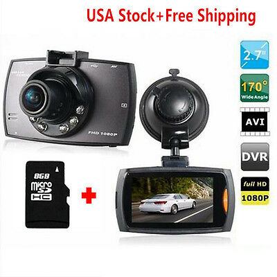 """1080P 2.7"""" TFT LCD Vehicle In Car Dash Camera Video Recorder DVR Cam w/8G card"""