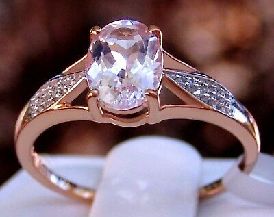 1.09ct Genuine Morganite Solitaire with Diamonds 10k Solid Rose Gold Ring Size 7