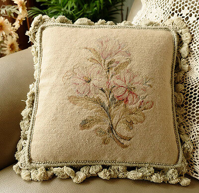 "14"" Handmade Wool Needlepoint 400 Stitches Petit Point Oleander Pillow Cushion"