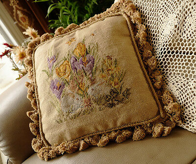 "14"" Antique Reproduction Handmade Wool Needlepoint Pillow Bunnies In Flowers"