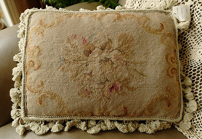 "16"" Hand Stitched Vintage Shabby Sofa Chair Decor Handmade Needlepoint Pillow"