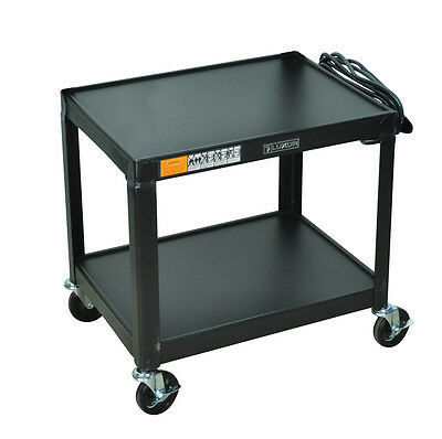 Luxor AV26 - Fixed Height Steel A/V Cart - Two Shelves, Black New
