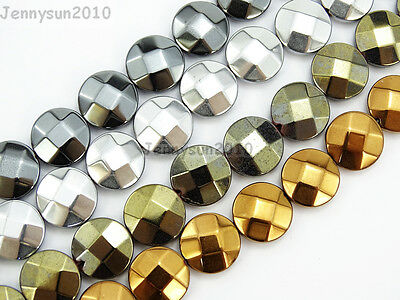 Natural Hematite Gemstone Faceted Round Coin Beads 16'' 4mm 6mm 8mm 10mm 12mm