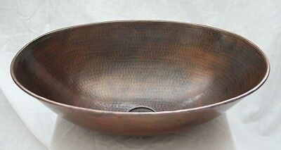 "17"" Oval Hand Hammered Copper Vessel Vanity Sink"