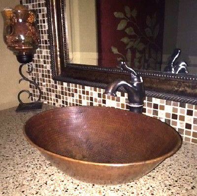 "17"" Oval Hand Hammered Copper Vessel Bathroom Sink"