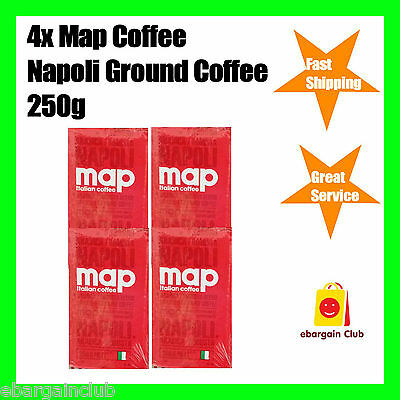 1kg Map Coffee Napoli Ground Coffee Pack (4x250g) Italian