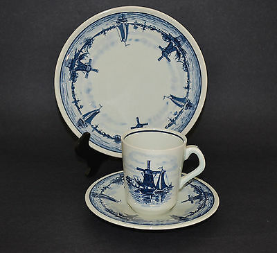Royal Goedewaagen Gouda Delft Blue Holland Set Cup With Saucer,cake Plate
