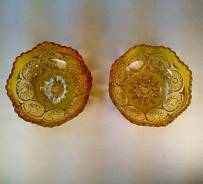 Vtg Pair Amber Glass Depression Ware Scalloped Sunburst Candy dish sherbert bowl