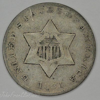1851 Ty-1 3c Silver Three-Cent Piece AU /N-599