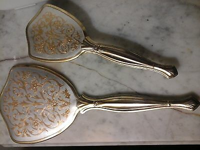 Vintage Ladies Gold Tone Metal Filigree and Floral Vanity Mirror and Brush Set