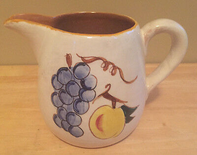 Vintage Stangl Pottery Pitcher Terra Rose Fruit Pattern Hand Painted Mid Century