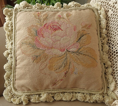 """12"""" Shabby Charm Huge Single Rose With Buds French Country Needlepoint Pillow"""