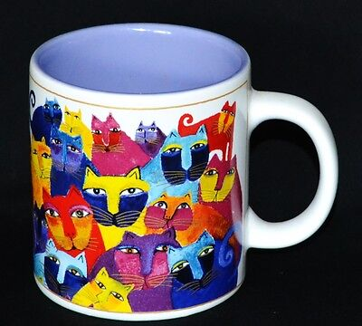 Laurel Burch 2004 Wine Things Unlimited Full Of Colorful Cats Mug New