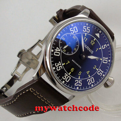 new 44mm PARNIS black dial luminous 6497 movement hand winding mens wrist watch