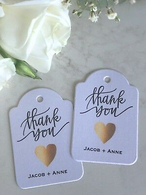Personalised Wedding Tags Thank You Gold Love Heart Rustic Romantic Favour
