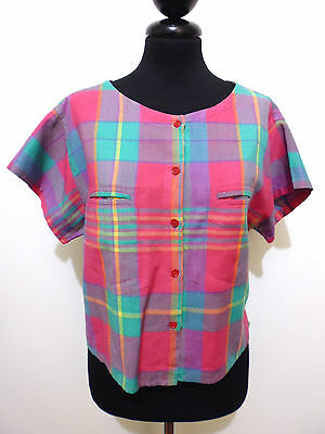 CULT VINTAGE '80 Camicia Donna Viscosa Cotton Scotland Woman Shirt Sz.M - 44