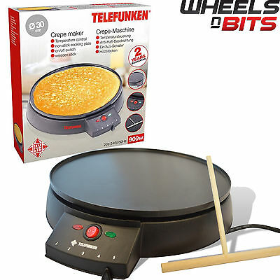 NEW 900W 30cm ELECTRIC PANCAKE CREPE MAKER NON STICK PLATE + FREE ACCESSORIE