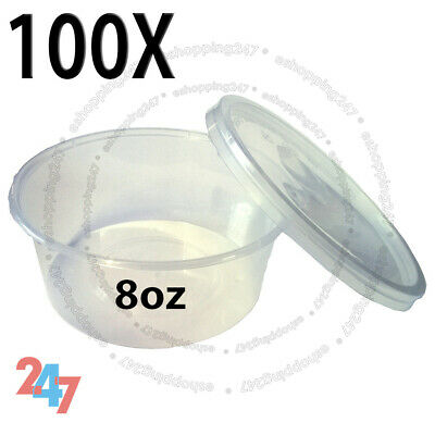 100 Multi Purpose ROUND FOOD GRADE PLASTIC CONTAINERS BABY POTS 8oz 120x30mm