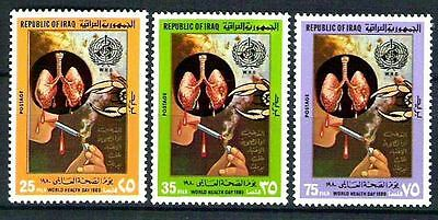 "IRAQ IRAK 1980 World Health Day "" Stop Smoking"" Set  Scott No. 962 - 964 MNH"