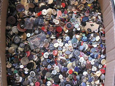 4Lbs. Vintage To Now Mixed Buttons, Various Colors, Shapes, Sizes, And Materials
