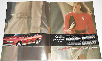 1989 vintage ad - CHEVROLET CHEVY CAVALIER Z24- 2-PAGE PRINT ADVERT convertible