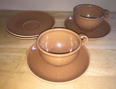 Russel Wright Iroquois Casual China Cups & Saucers Ripe Apricot Vintage