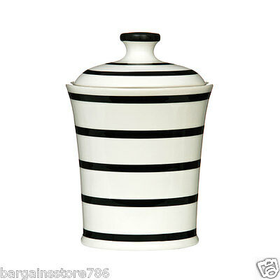 Large Black Stripe Storage Jar White Ceramic Tidy Hygenic