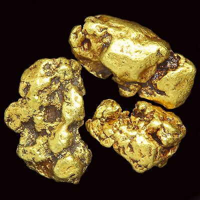 Three (3) Beautiful Gold Nuggets Flakes