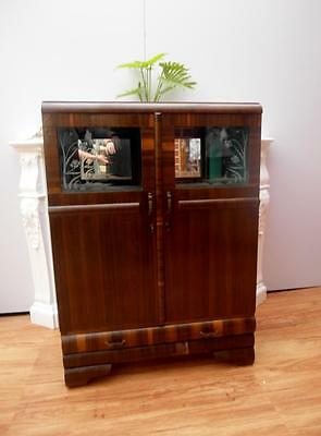 Vintage RETRO Art DECO Display CHINA Crystal CABINET Mirrored BACK Adelaide QZZQ