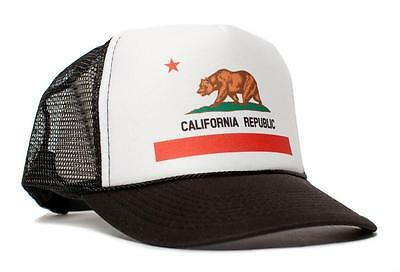 California Flag Curved Bill Cali Unisex Adult One Size Trucker Hat Cap Snapback