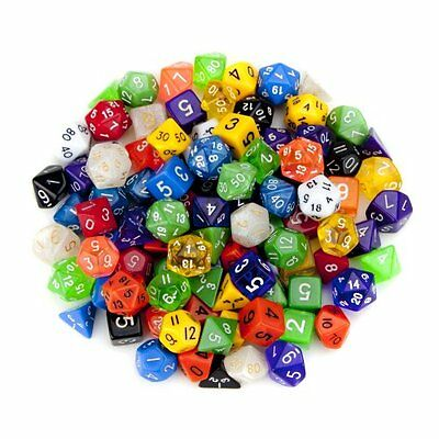 100+ Pack of Random Polyhedral in Multiple Colors Plus Free Pouch Set by Wiz