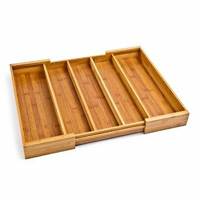 NEW Seville Classics Expandable Bamboo Cutlery Drawer Organizer FREE SHIPPING