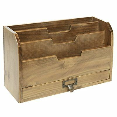 Delicieux 3 Tier Country Vintage Wood Office Desk File Organizer Mail Storage Drawer