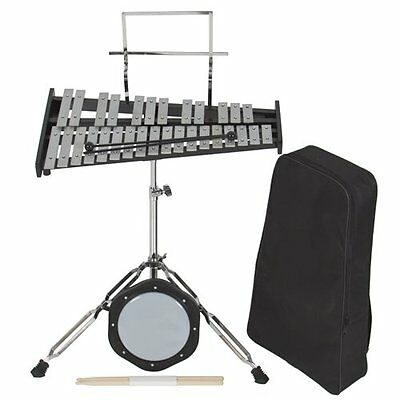 Percussion 30 Notes Glockenspiel Bell Kit w Practice Pad +Mallets+sticks+stand
