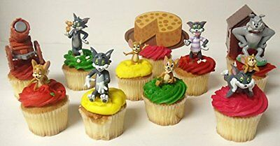 Tom and Jerry 11 Piece Birthday Cupcake Topper Set Featuring Spike
