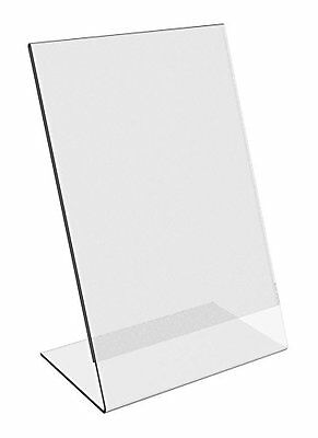 6 Pack 8x10 Clear Acrylic Slant Back Ad  Sign Holder Plastic Picture Photo Frame