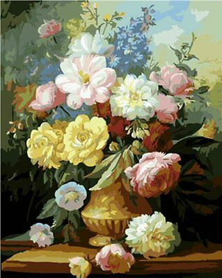 NEW Diy oil painting paint by number kit Elegant Flowers 16*20 inch.