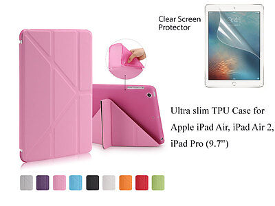 "For iPad Air Air2 Pro 9.7""Screen Protector/PU TPU Slim Magnetic Smart Cover Case"