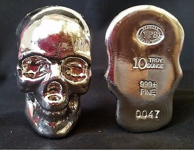 3-D Hand Poured 10 oz .999 Silver Skull Bar - NUMBERED USA MADE AMERICAN BULLION