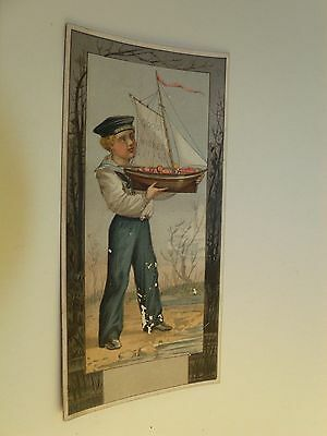 "Victorian Trade Card Boy in Sailor Suit Toy Sailboat Beach ""Good Wishes"""