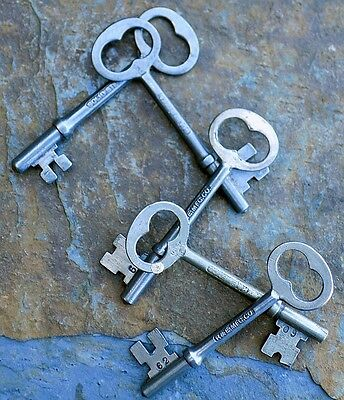 Five Rusell & Erwin Antique Mortise Lock Skeleton Keys  R & E  Antique Door Keys
